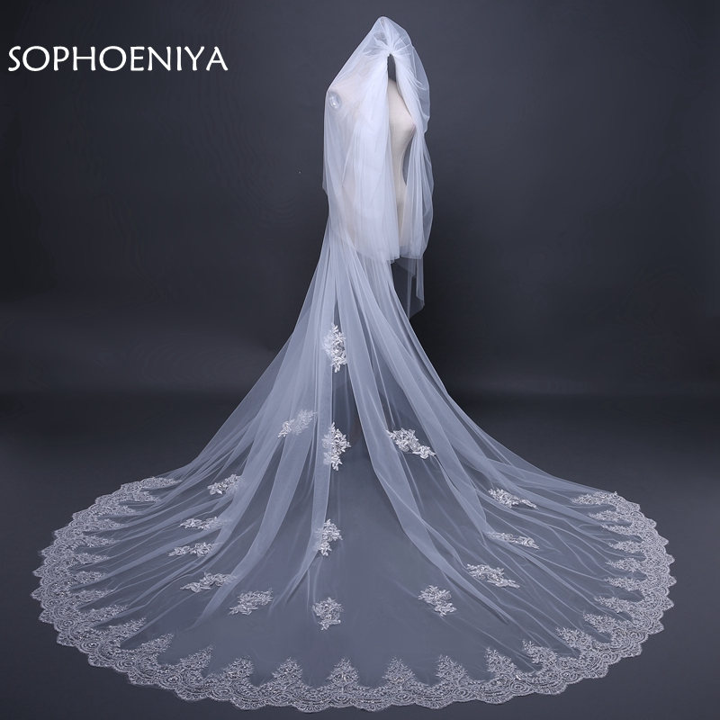 New Arrival Ivory veu de noiva Sexy wedding veil 2019 voile de mariee Bridal veil Cathedral veils wedding veil with comb
