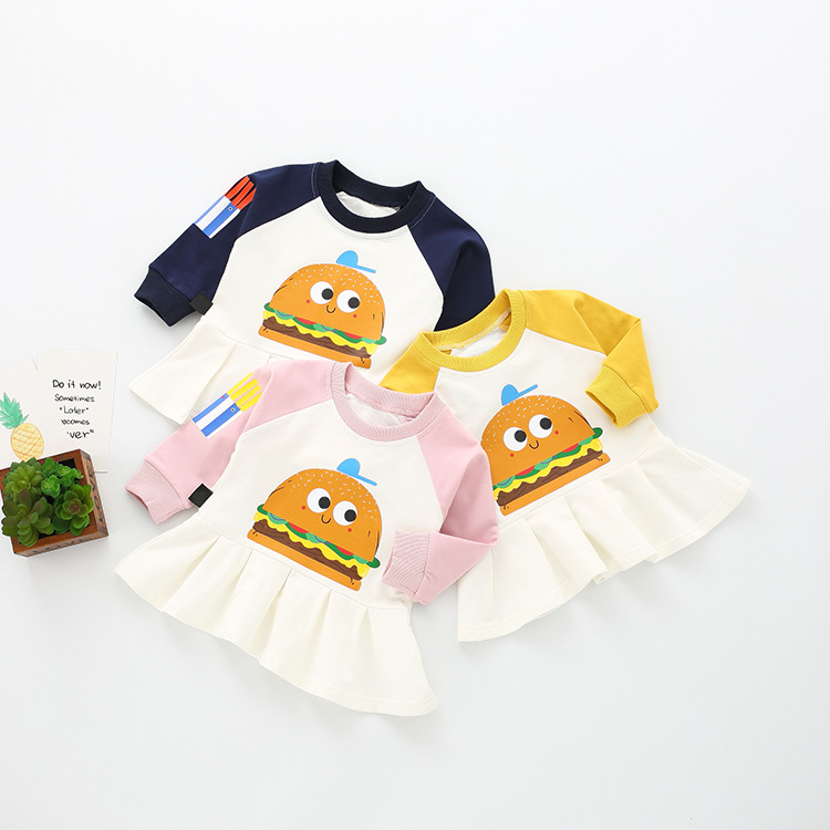 Baby Girls Dress Kids Girl Long Sleeve Hamburger Print Baby Clothing Newborn Baby Dresses Infant Baseball Dress 2018 New Arrival