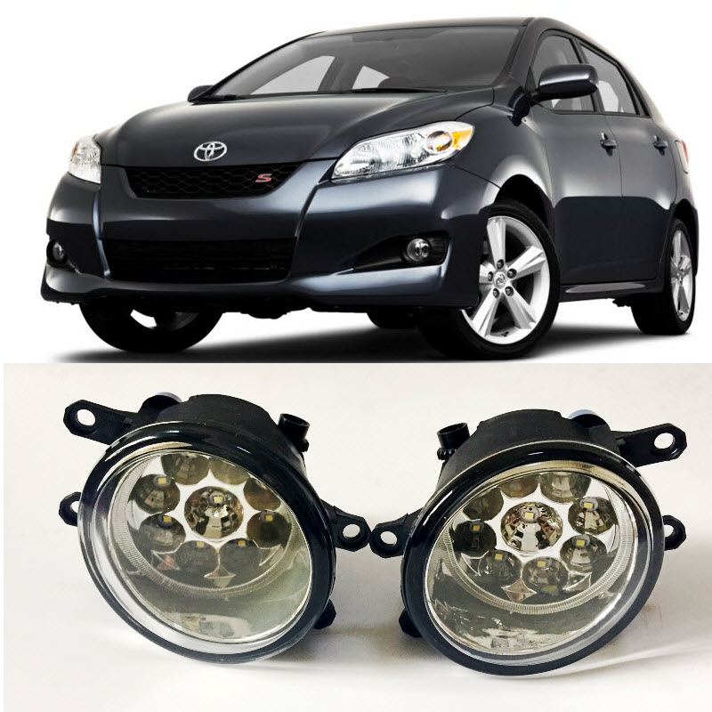Car-Styling For Toyota Matrix 2009-2014 2016 9-Pieces Leds Fog Lights H11 H8 12V 55W Halogen LED Fog Head Lamp fog light set 12v 55w car fog lights lamp for toyota hiace 2014 on clear lens wiring kit free shipping