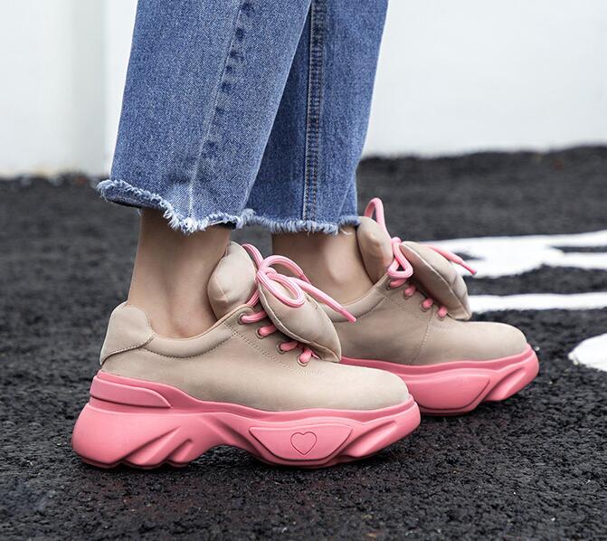 Casual Épais Nouveau Rose Profonde Femmes Sport as Formateurs Sneakers Coeur Picture Des Chaussures Peu Plate Picture Dentelle forme Talon Noir up Amovible As Aax5qw