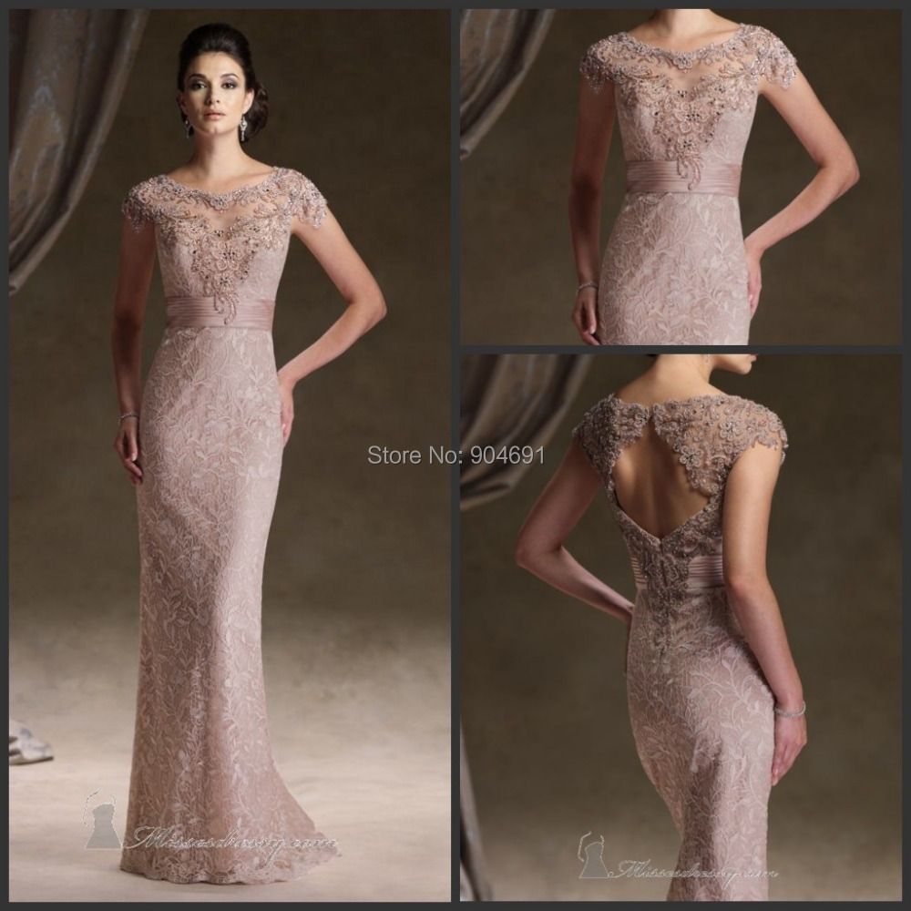 Aliexpress.com : Buy Lace Evening Dresses Round Neck Rosy Brown ...