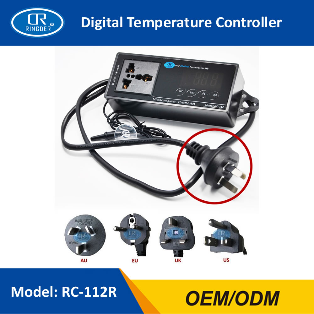 RINGDER RC 112R 40~110C Digital Temperature Thermostat with Plug and Universal Socket ON/OFF Regulator Temperature Controller