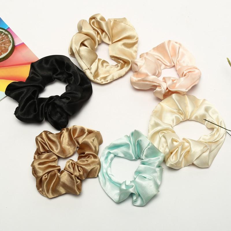 Satin Silk Women Hair Accessories Ladies Hair Tie Lady Scrunchies Girl Ponytail Holder Brand Hair Rope Hair Accessories 27 color headpiece