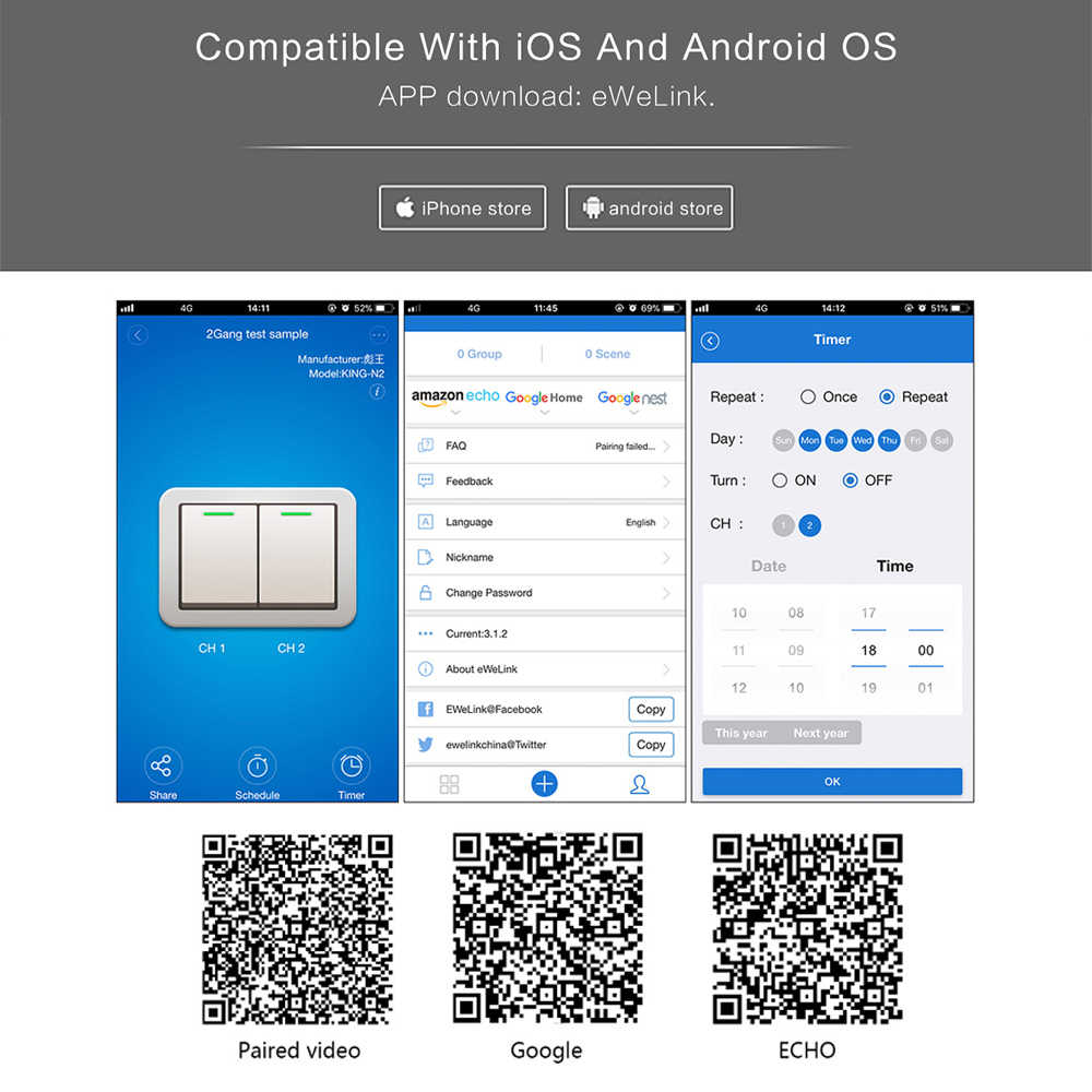 Minitiger Smart Home 4 Gang 1 way Wireless WiFi EU Standard Touch Switch Wall Light Touch Switch,ewelink App Control
