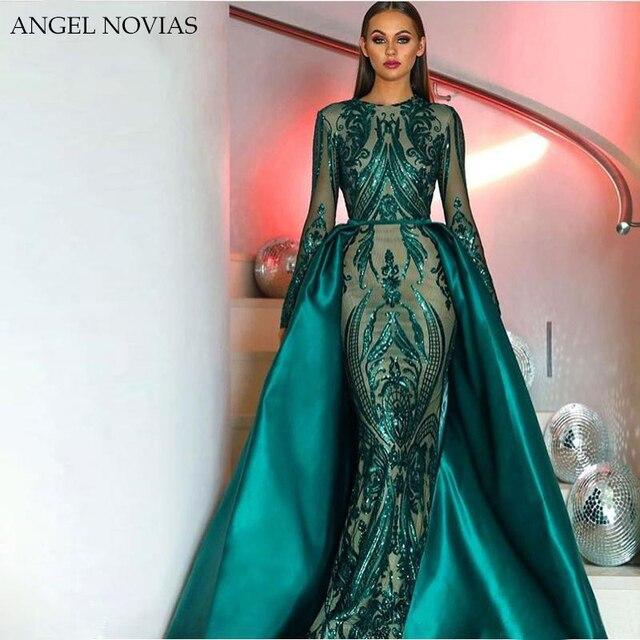 Elegant Muslim Green Long Sleeve Evening Dresses 2018 With Detachable Train Sequin Bling Moroccan Kaftan Formal