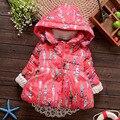 2015 девочек одежда ребенка куртки хлопка сгущать бархатом зима теплая верхняя одежда мода pattern детские девушки 1-2-3