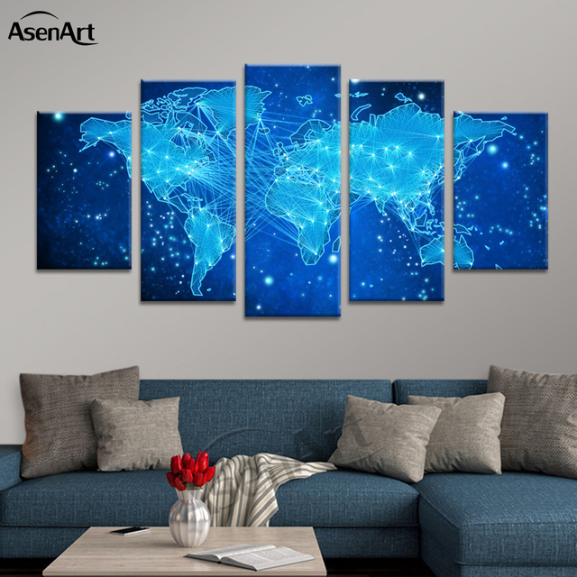 Animation wall art the galaxy world map print canvas split paintings animation wall art the galaxy world map print canvas split paintings 5 panel poster picture for gumiabroncs Image collections