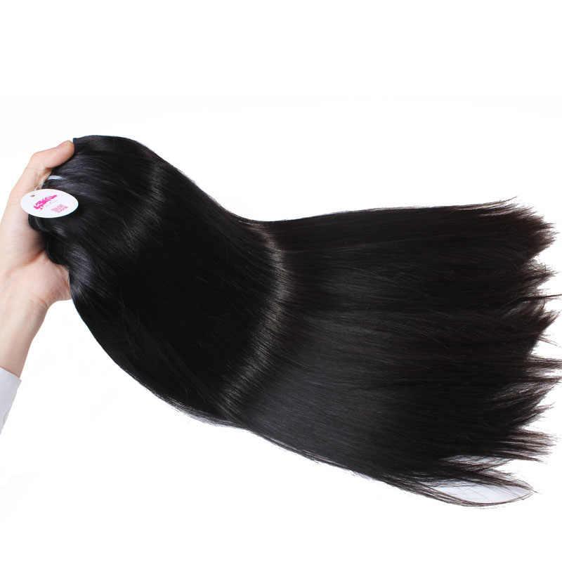 Прямые необработанные бразильские натуральные волосы Али Queen, пучок натуральных волос с двойным нарисованным пучком