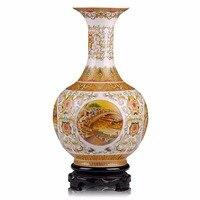 Jingdezhen Antique Golden Big Size ceramic Vase Riverside Scene At Chinese Vases home wedding decoration accessories modern