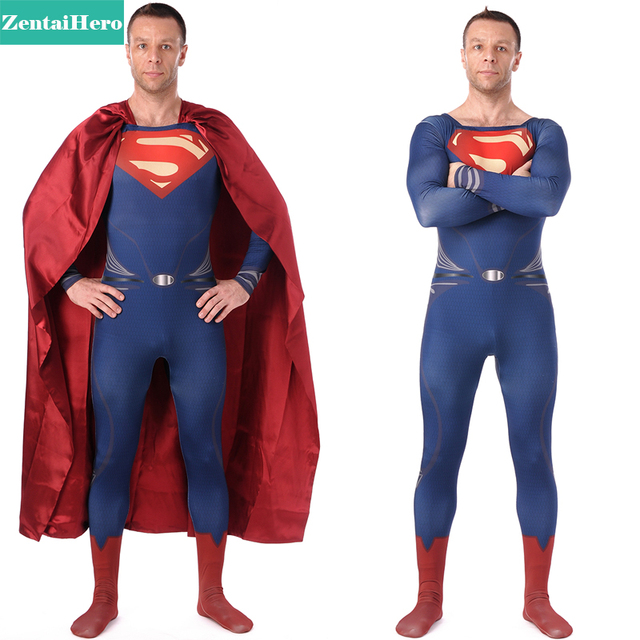 Free Shipping DHL High Quality Unique Spandex Dark Blue Zentai Superman Hero Costume For Halloween Lycra Superman Costume S-XXXL