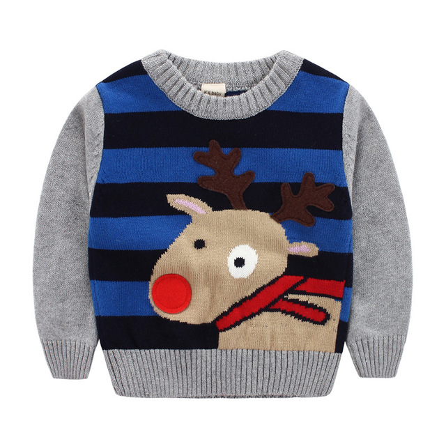 Vintage Striped Cute Deer Baby Boy Sweater Hot Sale Boys Clothes Nice Gift Kids 1