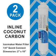 High Quality Icemaker and Refrigerator Dispenser Drinking Water Filter 10 Inline Coconut Carbon Filters 1/4 Quick Push - 2PACK 3 pack whirlpool 8171413t compatible refrigerator water and ice filter by zuma water filters opfw2