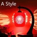 Estilo chinês Clássico Vermelho Levou E27 90-260 V Lâmpada de Mesa de Cerâmica de Mesa Luminárias Quarto Casamento Presente de Ação De Graças Presente do dia