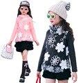 2016 зима детская одежда для девочек пуловеры мода кружева сгущает руно высокий воротник девочка свитера для девочек топы