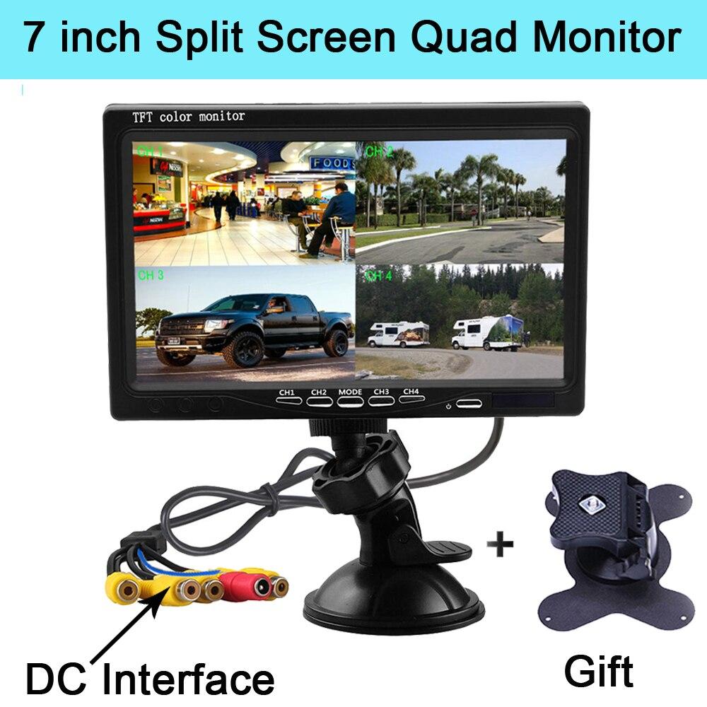 7インチスプリットスクリーンクアッドモニター4CHビデオ入力フロントガラススタイル駐車ダッシュボードモニター用カーリアビューカメラカースタイリング入力デバイス