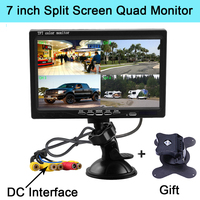 Podofo 7 Inch Split Screen Quad Monitor 4CH Video Input Windshield Style Parking Dashboard for Car Rear View Camera Car styling