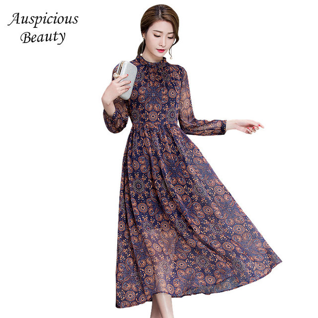 2018 New Spring Floral Dress Women Printed Casual Chiffon Dress Slim Long Sleeve Ladies Vintage Elegant Boho Party Dress SUN219