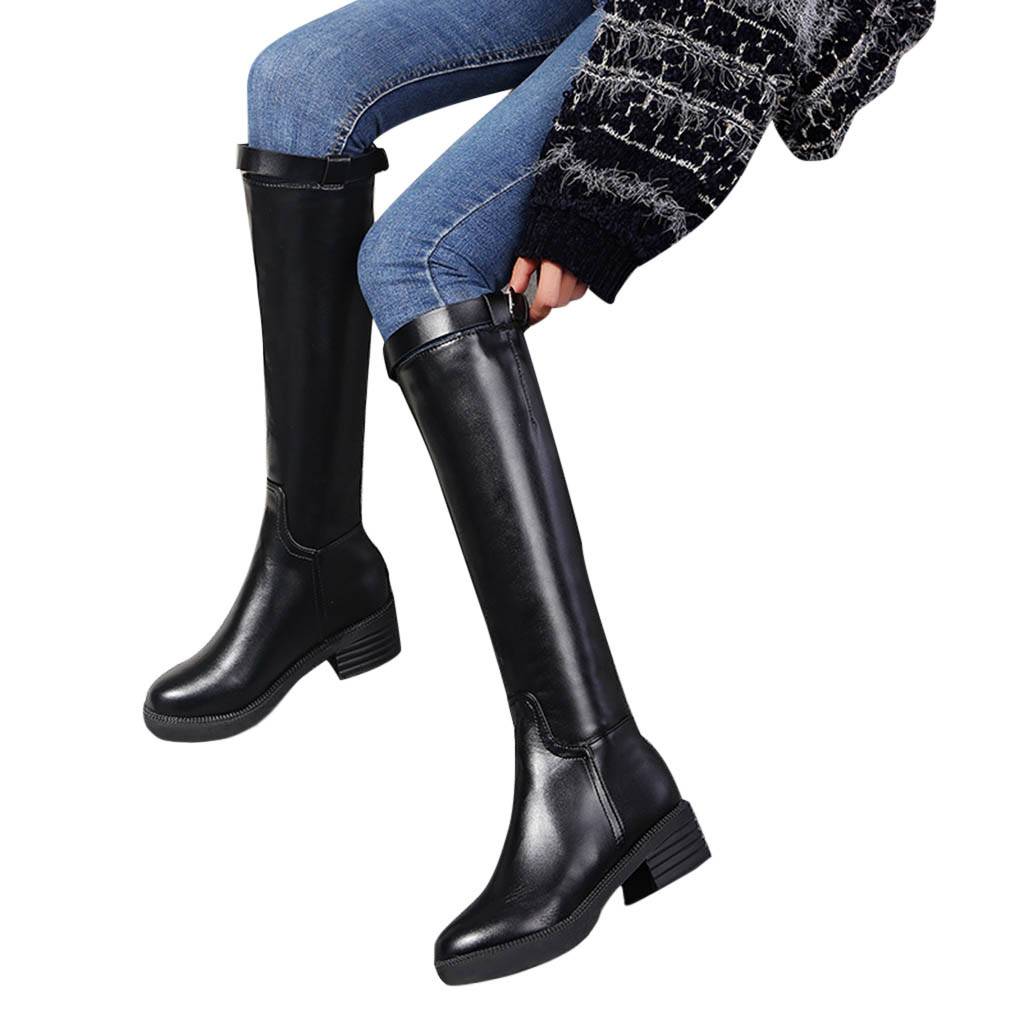 SAGACE Black Boots Toe-Belt Square Thick Straight Women's Fashion Casual Round with New