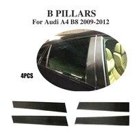 4 STKS Auto Stijl Koolstofvezel Auto Side Window Pijler Versieringen voor Audi A4 B8 & S4 & Sline Base Sedan 2009-2012