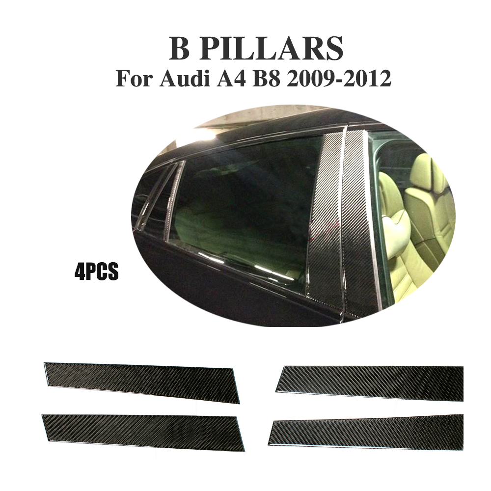 4PCS Car-Style Carbon Fiber Auto Side Window Pillar Trims for Audi A4 B8 & S4 & Sline Base Sedan 2009-2012 2x no errors xenon white 50w p13w c ree led bulbs drl for 2008 12 audi b8 model a4 or s4 with halogen headlight trims