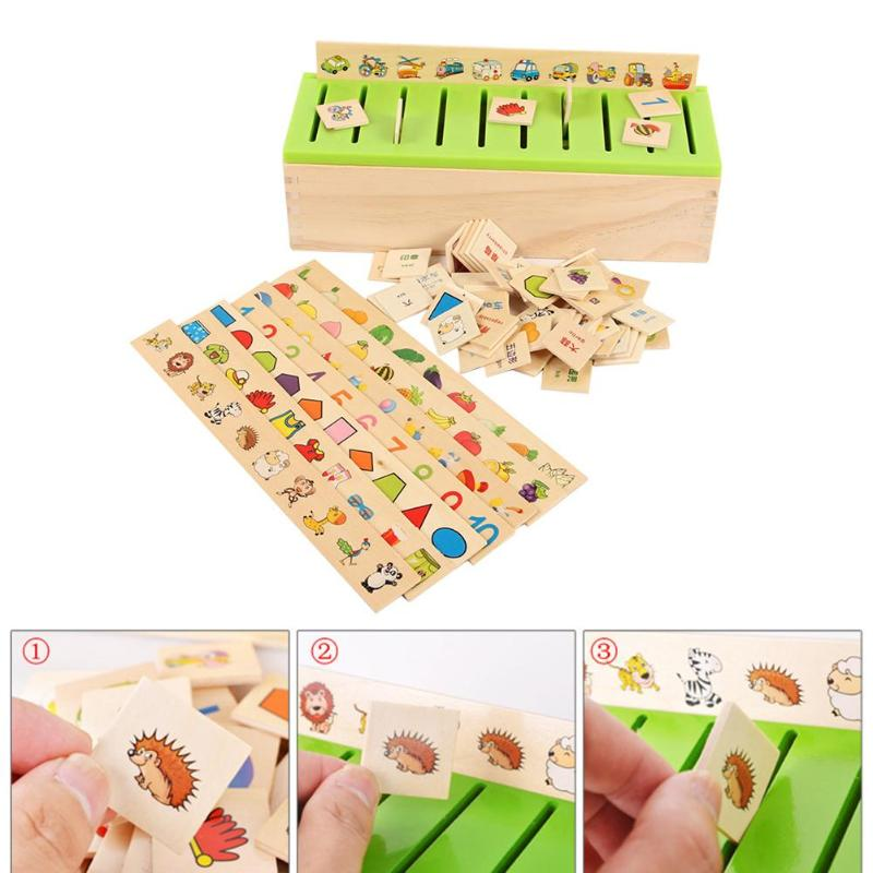 Kids Early Educational Learning Wood Box Mathematical Knowledge Classification Toy Box Child Cognitive Matching Toys