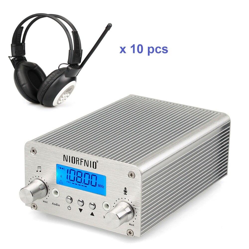 NIORFNIO 15W Wireless Broadcasting System FM Transmitter + 10 Headphone For Church meet Meeting Translation FM 87~108MHz Y4439D professional 87 108mhz dsp