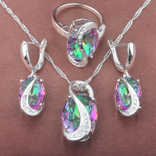 New Band Multicolor Rainbow Cubic Zirconia Women's 925 Silver Jewelry Sets Necklace Pendant Earrings Rings Free Shipping TZ083