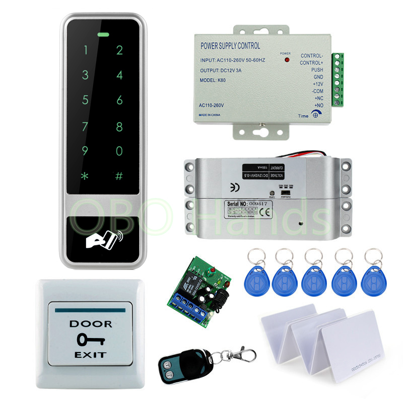 Full rfid metal access control system kit set waterproof keypad+power supply+exit button+bolt lock+keycards+remote controller