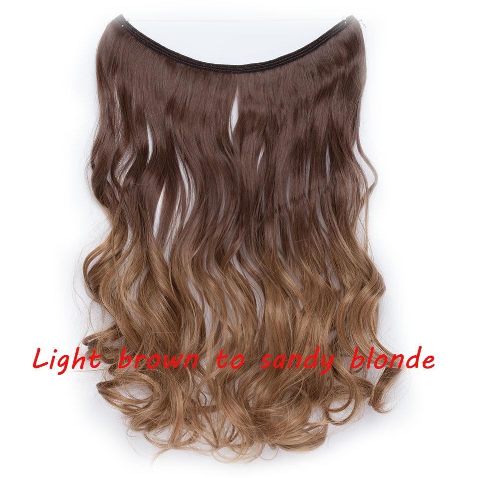 S-noilite 20 дюймов невидимый провод без заколки для волос Расширения секретная Рыбная линия шиньоны шелковистые прямые настоящие натуральные синтетические - Цвет: 12H18