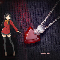Fate stay Night Necklace Anime Costume Pendant Red Color Necklace 925 Silver Jewelry Accessories For Women Girl Christmas Gift