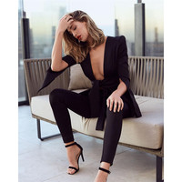 Видеть оранжевый черный Сексуальная V шеи Для женщин Jumpuits выдалбливают Playsuit 2018 Офисные женские туфли черный длинный рукав боди Для женщин