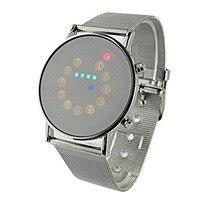 Модные наручные часы из нержавеющей стали со светодио дный подсветкой