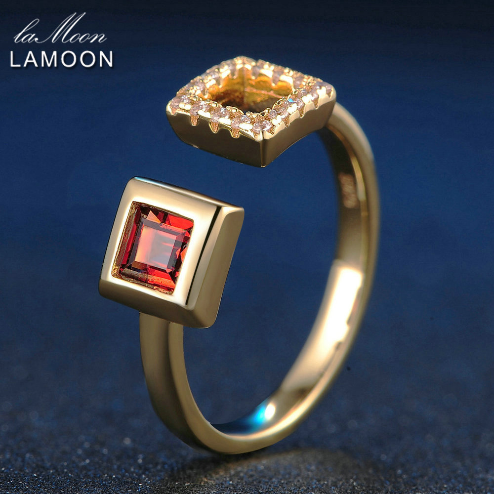 LAMOON 4mm 0.25ct 100% Natural Square Red Garnet Adjustable Ring 925 Sterling Silver Jewelry Women Romantic Wedding Band LMRI020