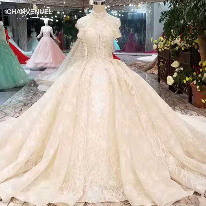 LS11039 champagne wedding dresses pure new high neck short sleeve wedding  gown with shiny train 11.11 092dfac768d5