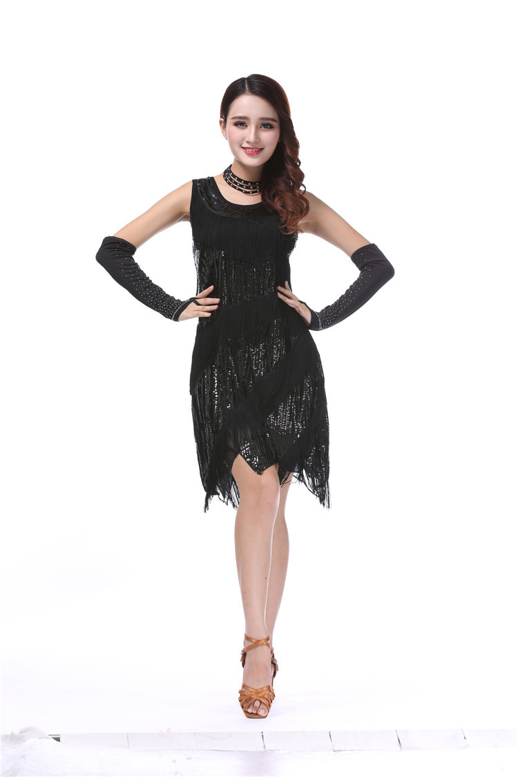 Buy Cheap New costumes fashion sequined tassels adult latin dance dress sexy sleeveless tank party tight dress Bling Sequined Dancing Dres