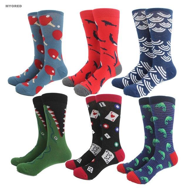 95a293e5d9a MYORED Hommes peigné coton Coloré Chaussettes Harajuku animal D affaires Chaussettes  coloré homme Longues Chaussettes