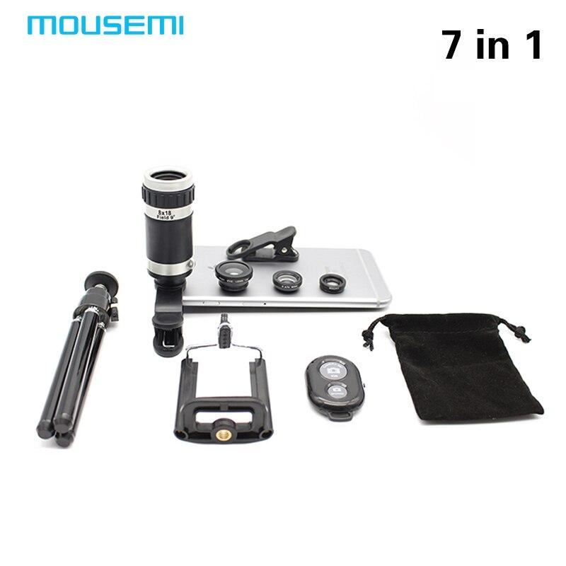 imágenes para Nuevo 7en1 8X Zoom Óptico Del Telescopio Lente de la Cámara Universal Soporte para Teléfono Stander 3in1 Ojo de Pez Lentes Lentes de Obturación Bluetooth