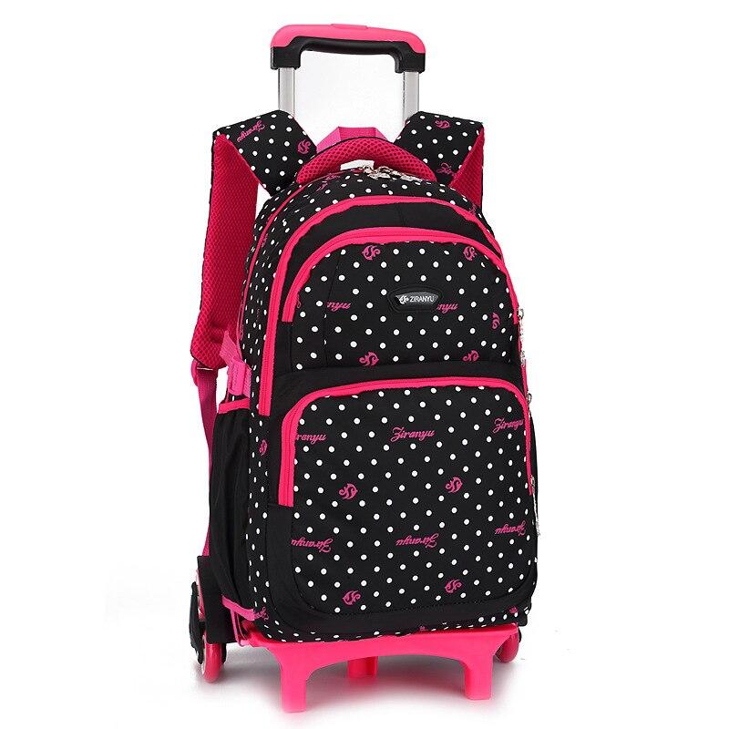 2018 Waterproof Trolley School backpacks Girls Children School Bags Wheels Travel Bags Luggage Backpacks Kids Rolling