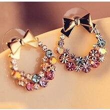 cute bowknot stud earrings fashion jewelry boucle doreille geometric studs aretes oorbellen korean rhinestone