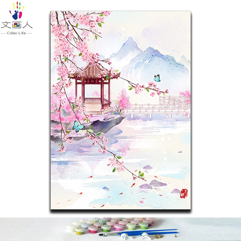 Diy Coloring Paints By Numbers Traditional Chinese Style Building Landscape Flowers With Kits For Girls To Practise Painting