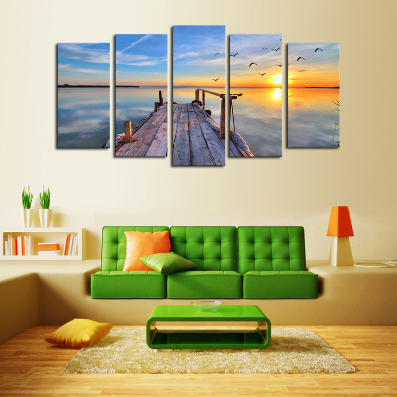 5 Piece Canvas Art Modern Seascape Painting Canvas Art HD Sea wave sunrise Landscape Wall Picture For Bed Room Framed in Painting Calligraphy from Home Garden