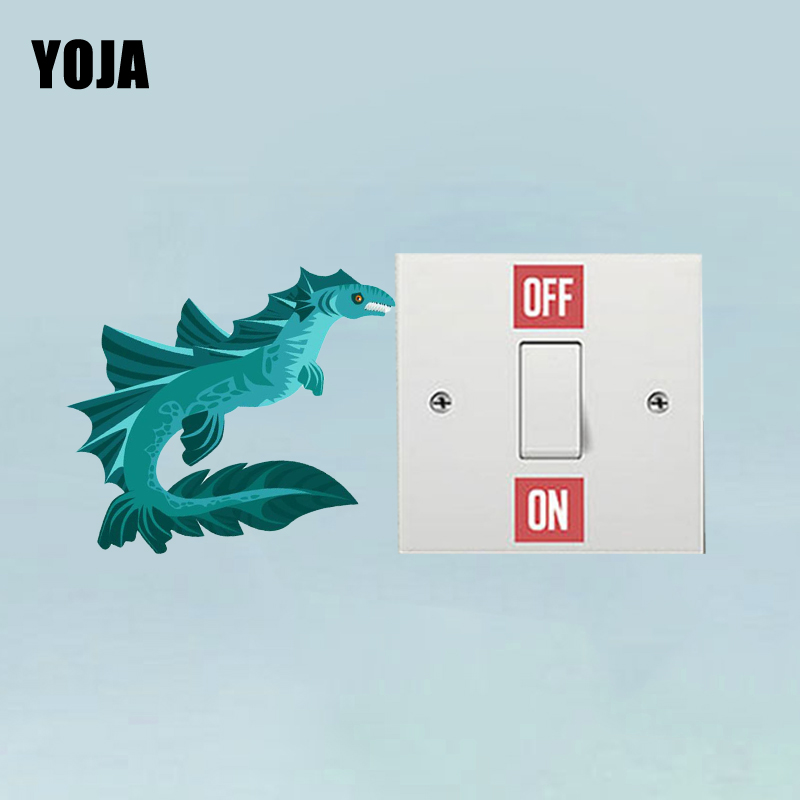 YOJA Personality Blue Sea Monster PVC Switch Sticker Living Room Bedroom Wall Decal Decor 11SS0293