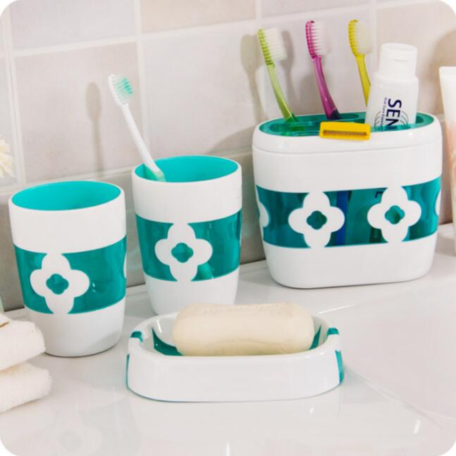 Bathroom Accessories Fashion Lovers Cups Toothbrush Holder Bathroom Products 4 Piece Wash Suit
