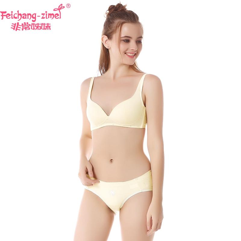 Free Shipping Feichangzimei Girls Underwear Girls Bra And Panties Cotton Yellow /Pink Lace A/B Cup Bra Set -100133S choker caged lace bra and panties set