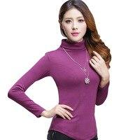 2017 New Spring Autumn Korean Style Cotton Turtleneck Bottoming Tops Fashion Slim Was Thin Plus Size