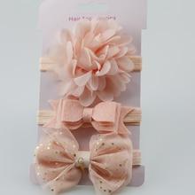 3pcs Baby Girl elastičen cvetlični trak z gumo Otroški dojenčki lepo las gumeni pokrivala Skinny Stretchy Bowknot Flower Hair Band
