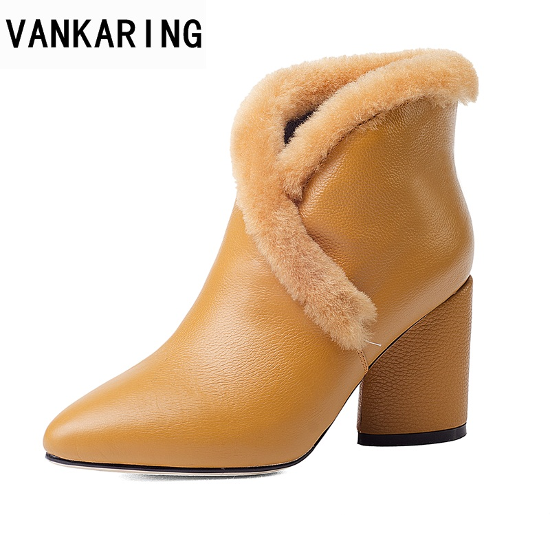 VANKARING women ankle boots shoes new fashion genuine leather sexy high heels pointed toe real fur shoes woman dress party boots vankaring new 2018 spring women flats shoes patent leather flat heels pointed toe black red shoes woman dress casual date shoes