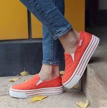 Brand Women Flats Casual Shoes Slip On Canvas Fashion Platform Loafers Autumn Comfort White Women Shoes Plus Size 35-39 p7d31