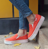 Brand Women Flats Casual Shoes Slip On Round Toe Fashion Platform Loafer Shoes Autumn Comfort White
