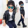 Kids Clothes Baby boy Winter jacket for boys Black fur coat boy PU Leather Jacket Turn-down Collar Baby boys Coats and Jackets